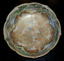 Excellent Condition Japanese Satsuma Koshida Gilt Flowers Scalloped Rim Bowl