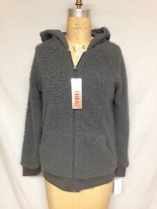 32 Degrees heat WOMEN'S SHERPA  Full zip hoodie TLF87972ME Charcoal Medium NWT