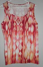 Chico's Sleeveless Tank Shirt Size 3 Pink Multi-Color Ikat Pattern! Women's 16