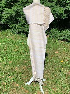 Fringed Estambre Rebozo Wrap Shawl Woven Pattern 6.2x2.2 Mexican White Tan 2043