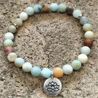 8MM Amazonite Stone Beads Bracelet Mala Chakras Hot Handmade Bless Lucky Healing