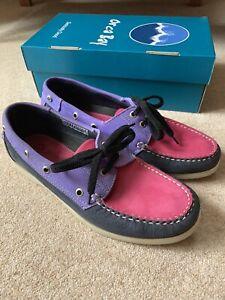 Orca Bay Sandusky Ladies Deck Shoe Size 7 Cerise/Purple/Navy Suede Washable VGC
