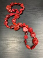 """Ladies Women's Vintage Bohemian Beaded Long Necklace Red Real Nut Beads 32"""""""
