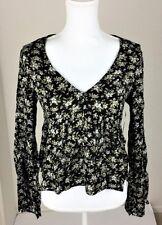 Denim & Supply Ralph Lauren Women Floral Bell Sleeve Top Black M L XL