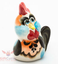 Rooster gzhel porcelain figurine handmade in Russia