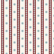 Fabric Snowflakes Winter Stripes Red Blue on Cream Cotton 1 Yard S