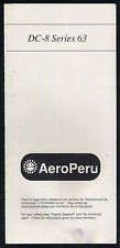 AERO PERU AeroPeru DC 8 Series 63 SAFETY CARD airline brochure leaflet ee e136
