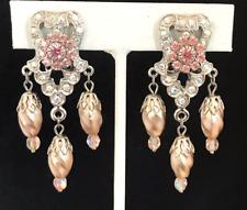 Kirks Folly Earrings Art Deco AB Crystals Silver Tone Clip Vintage Designer 7H