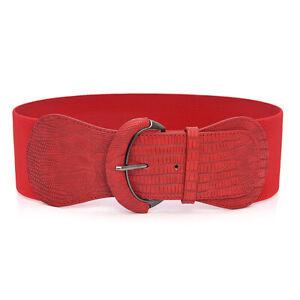 Women Wide Elastic Belt Ladies Cinch Waist Stretch Belt Ladies Faux Leather Belt