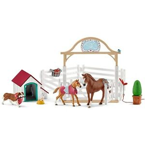 42458 Schleich Horse Club Hannah's Guest Horses with Ruby the Dog Plastic Figure