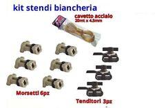 Cavo stendibiancheria + 6 morsetti + 3 tenditori plastica cavetto filo per panni
