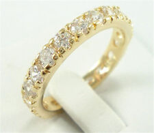 Elegant 14K Yellow Gold Plated White Sapphire Ring Wedding Bridal Jewelry Sz 6-9