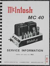 *USA* ULTIMATE McINTOSH MC40 SERVICE MANUAL TUBE AMP
