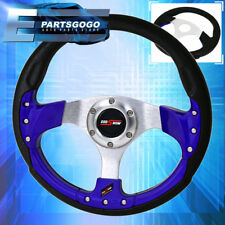 320Mm 9 Bolt Design Pvc Leather Blue Fusion Style Godsnow Steering Wheel Jdm