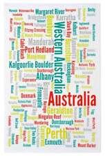 NEW Western Australia City Town Suburb Names Kitchen Tea Towel 100% Cotton