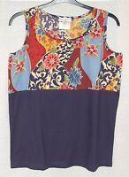 NEW Ulla Popken TWO TONE Floral/Purple Sleeveless Cotton jersey Top Size 12/14