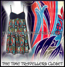 KATE MOSS TOPSHOP BLUE WHITE RED GREEN NAVY LIBERTY NOUVEAU SUN DRESS UK 8 10
