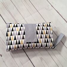 Nappy wallet diaper clutch, padded with cotton in modern grey gold triangles