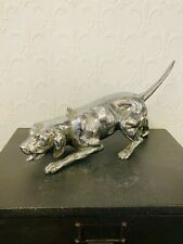 More details for antique original signed antonio pandiani milano hound bronze silver plated