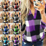 Plus Size Women Casual Long Sleeve Plaid Check T Shirt Ladies V Neck Tops Blouse