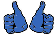 THUMBS UP DECAL STICKER BLUE 100MM High  CONTOUR CUT LEFT & RIGHT