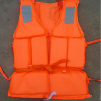 Schaum Rettungsweste Schwimmweste Schwimmhilfe Feststoffweste+Pfeife Orange .