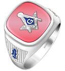 Customizable Men's Silver Vermeil Blue Lodge Masonic Ring, Size 8 to 14
