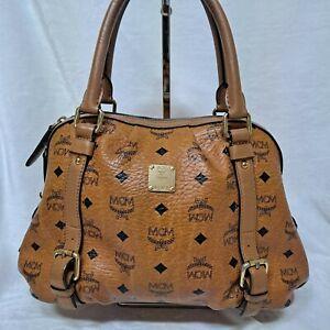 AUTHENTIC MCM Cognac Visetos  Tote Bag Boston Bag