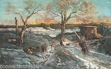 Winter,Hunting,Quaint,New England,Snow,Currier&Ives Landscape,Genre,Farm,cow.dog
