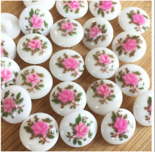 Pretty Floral Rose Buttons, white & pink , 13mm diameter ( size 21) priced per 5