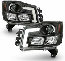 Fit 04-15 Titan 04-07 Armada Black LED Tube Projector Headlights SE/LE/XE