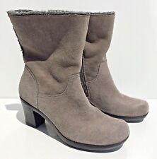 Clarks Bendables suede leather faux fur boots women size 6M gray model no 39387