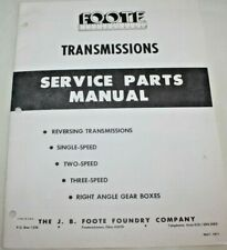 """Manual, Foote Transmissions Service parts MANUAL, 1971 Vintage, 8.5 x 11"""" Paperb"""