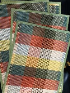 Bamboo Slat Placemat with Brown Fabric Border, Set Of 4 Multi Color