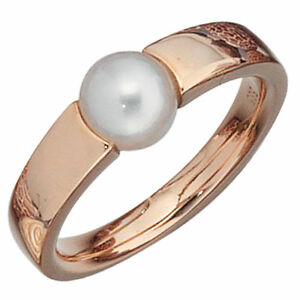 Ring,Women's Ring With Freshwater-Pearl & 585 Rose Gold, Finger Jewellery, Gold