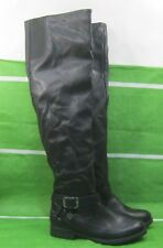 "new ladies Black 1""Block Heel Sexy long Over Knee Boots  Size 9"
