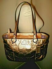 RARE COACH WOMENS PATENT LEATHER SHOULDER BAG TOTE GOLD LARGE F17727