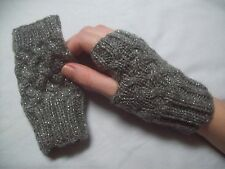 LADIES hand knitted FINGER LESS GLOVES wrist warmers GREY GLITTER one size NEW