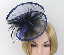 STUNNING NAVY SINAMAY FASCINATOR WITH MATCHING FEATHERS ON HEADBAND SPRINGRACING
