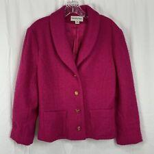 Vintage Bloomingdales Hot Pink Wool Blazer Jacket Size 12 Made In Usa