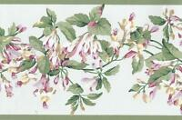 Wallpaper Border Flower Vine Floral Trail Pink Red Tan Green on Pale Blue