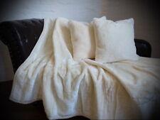 3tlg. Set Tagesdecke Kuscheldecke Glanz-Design elfenbein + 2 Kissen 40x40cm
