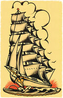 109 vintage Sailing Navy Ship Sailor Jerry Traditional style tattoo Flash print