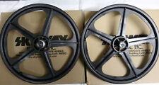 "BMX BLACK Skyway Tuff II Wheel 2 Mag WHEELSET Black 20"" Freewheel WHEEL SET"