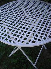 Klapptisch Metall creme weiß, Gartentisch, Campingtisch, Balkontisch, rund. Neu