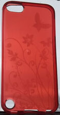 iPod Touch 5 5G TPU Gel Case - Red Butterfly & Flowers Cover