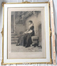 "Antique 1875 Framed Herman Eichens Engraving Titled ORPHELINE-Large 26.5"" X 34"""