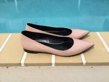 YSL Yves Saint Laurent Pink Patent Ballerina Flats Shoes 38M Made In Italy