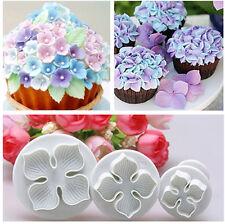 3pcs Hydrangea Fondant Cake Decorating Sugar Craft Plunger Cutter Flower Mold BO