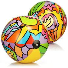 2x Wasserball aufblasbar - Strandball mit sommerlichen Motiven